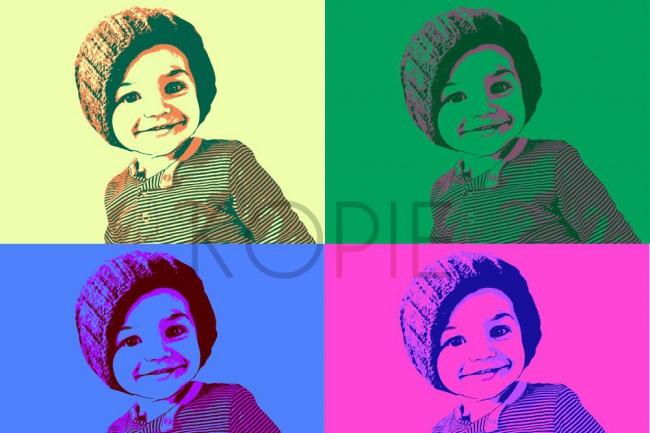 Портрет поп-артИллюстрации и рисунки<br>Нарисую цифровой портрет по фотографии на одного человека. 4 ячейки в разных цветовых решениях. Правки до полного утверждения!<br>