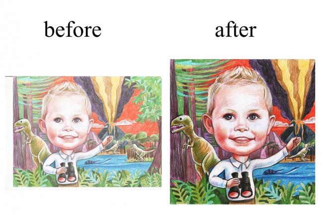 Отретуширую 5 сканов изображений, рисунков от руки 1 - kwork.ru