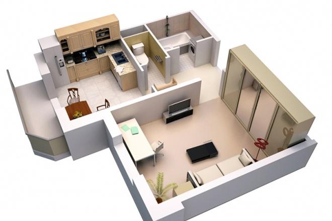 Выполню 3D модель дома, квартиры 1 - kwork.ru