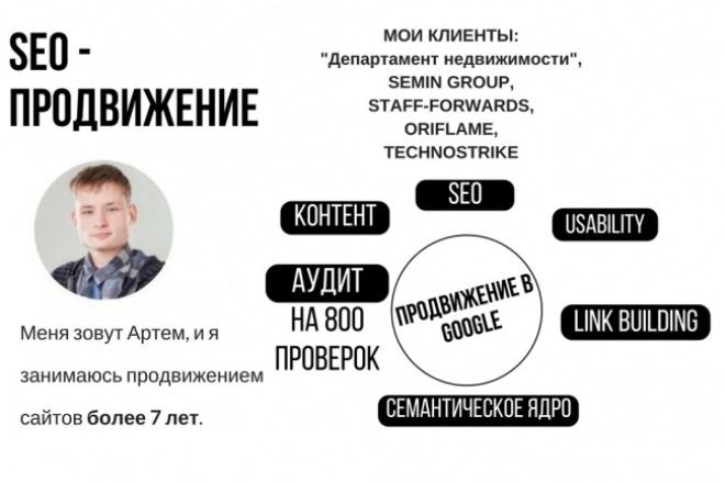 Полный аудит сайта по 800 факторамАудиты и консультации<br>Предлагаю вам уникальную услугу: Самый полный SEO-аудит- Более 800 проверок вашего сайта - Использую 12 инструментов анализа - Аудит заказывали крупнейшие проекты в России, Украине, Казахстане, среди которых Департамент недвижимости, semin group, staff-forwards, oriflame, technostrike и многие другие сайты лидирующих в Украине компаний различных коммерческих направлений. - Получаем первый результат в течение недели. Это единственный SEO-аудит, который рассматривает SEO в комплексе с SMM, PR, юзабилити, веб-аналитикой, бизнес-аналитикой, структурой сайта, протоколом HTTP и HTML версткой. Вам нужен аудит, если: - Вы планируете начать продвижение сайта. - Готовится к запуску новая версия сайта. - Сайт продвигается, но результата нет. - Сайт попал под фильтры. - Вы хотите сократить расходы на продвижение. Условия: Стоимость: 1500 руб. Объем работы: 30 часов. Срок: 10 дней. (если нет очереди) Для проведения аудита обязательно заполнение брифа.<br>