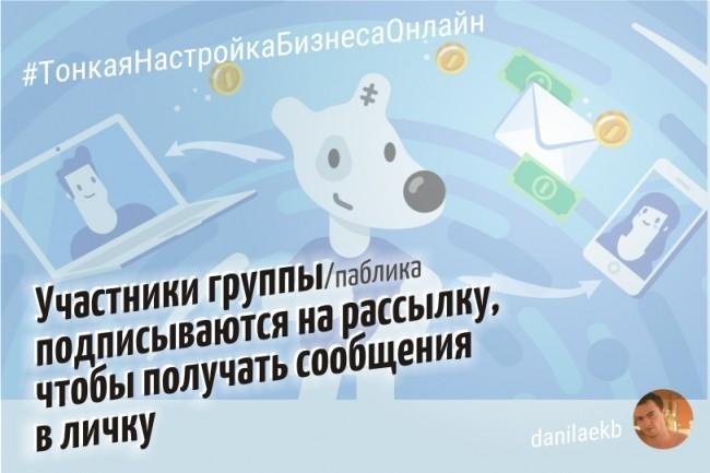 Настройка группам VK подписки на рассылку в личные сообщения. Легально 1 - kwork.ru
