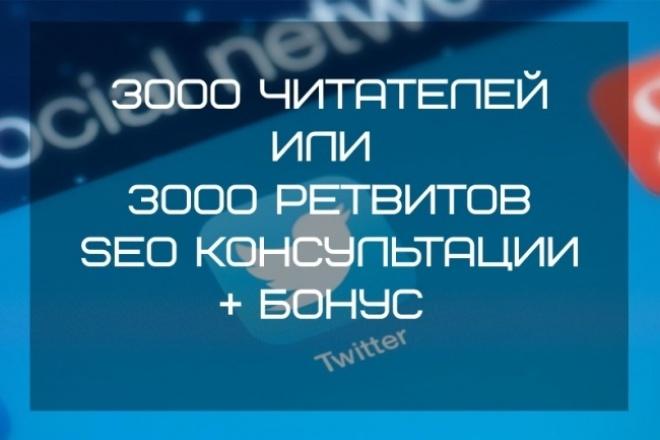 3000 читателей в Ваш Twitter или 3000 ретвитов твитов + БонусПродвижение в социальных сетях<br>Предлагаю полный пакет услуг по Twitter  3000 читателей (подписчиков, фолловеров) в Ваш Twitter аккаунт или 3000 ретвитов твитов. В этот кворк входит: 1. 3000 читателей в Ваш Twitter или 3000 ретвитов твитов 2. Бонус 500 лайков 3. SEO-Консультации Зачем нужен Твиттер? 1. Для продвижения сайтов (SEO). Чем больше читателей, тем быстрее индексируются ссылки, тем самым улучшаются поведенческие факторы. 2. Для продвижения Бренда, продажи товаров, услуг, ... 3. Для снятия ограничения чтения. 4. Для того, чтобы стать знаменитым. Даже президенты и знаменитые люди читают посты в Twitter. 5. Исходя из психических факторов, читатели не любят подписываться на тех, кто не популярен. Услуга подписчиков поможет Вам: ? Сделать быстрый старт в Twitter ? Раскрутить Бренд, проект, аккаунт, стать более узнаваемым и знаменитым ? Вывести аккаунт в ТОП по хеш-тегам; Услуга ретвитов твитов поможет Вам: ? Вывести сайт в топ и улучшить поведенческие факторы ? Ускорить индексацию Вашего сайта или отдельных страниц ? Увеличить (трастовость) вашим постам Гарантии работы: число отписок не более 5%. Поэтому всегда выполняем больше на 10-20%, поэтому гарантированное число читателей, ретвитов, лайков всегда больше 3000.<br>