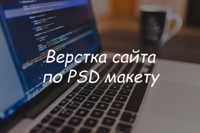 Сверстаю сайт из PSD в HTMLВерстка<br>Вёрстка сайтов разной сложности: 1. Адаптивный дизайн 2. Анимация 3. Кроссбраузерность Сверстаю быстро и качественно. Пишу аккуратный, разборчивый код. Если у вас еще не готов дизайн сайта, с этим я вам так же смогу помочь ( смотрите связаные кворки ).<br>