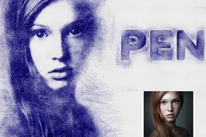 Эффект рисования ручкой 1 - kwork.ru