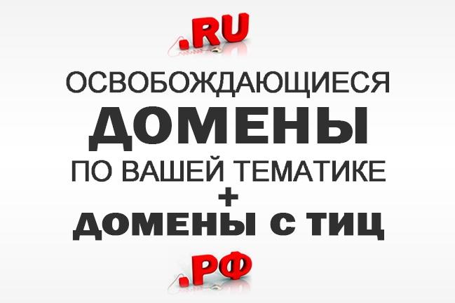 Подберу все освобождающиеся домены по Вашей тематике в том числе с ТИЦДомены и хостинги<br>Еженедельно освобождается много доменов, в том числе домены с хорошими показателями (тиц). Подберу все домены по Вашей тематике (до 10-ти ключевых слов на русском- если нужна зона рф, и / или транслите, английском-если интересует зона ru / su), которые будут освобождаться в течение месяца (со дня поступления заказа). Все домены предоставляются списком (сколько есть). бонус - дополнительно обработаю список на наличие ТИЦ / АГС, Яндекс Каталога, укажу дату регистрации, дату удаления. После этого, можно домены перехватывать на аукционах, либо отслеживать когда домен уйдёт в дроп (будет доступен для регистрации).<br>