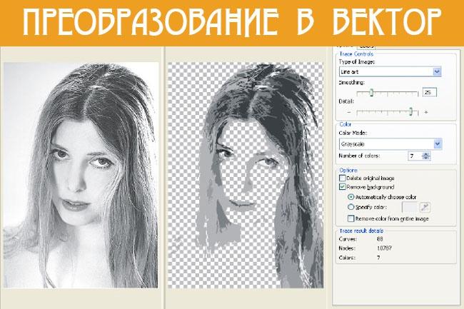 выполню преобразование растрового изображения в вектор 1 - kwork.ru