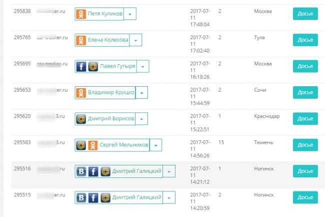 Скрипт индентификации посетителей из ВК, ОК, ФС, ММ, телефонаСкрипты<br>Установлю скрипт на ваш сайт и вы получите индетификации посетителей вашего сайта, их данные - аккаунты из соц. сетей ВК, ОК, ФС, ММ, тел, @, досье о посетителе; количество визитов на ваш сайт, город, ключевое слово, UTM метки (если прописаны). Зачем это нужно? Вы можете связаться с посетителем сайта и напрямую предложить Ваш товар или услугу, выяснить по какой причине человек не совершил покупку и в конечном итоге закрыть сделку. Либо выгрузить идентификатор посетителей и использовать в каком-либо стороннем софте, например, для автоматического сбора ЦА. Можно устанавливать на любой сайт и любое кол-во сайтов.<br>