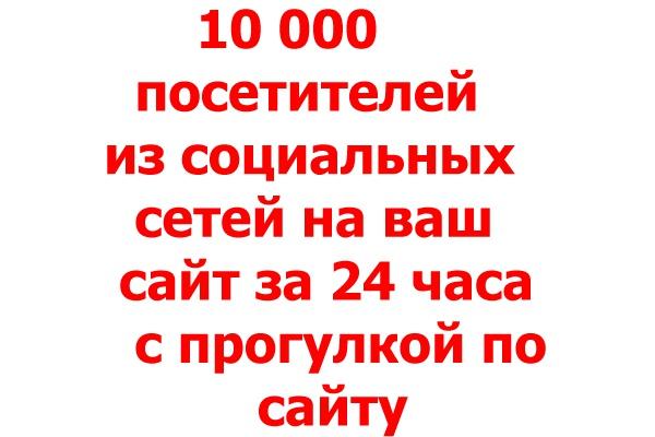 10000 уникальных посетителей с прогулкой по сайту из социальных сетей 1 - kwork.ru