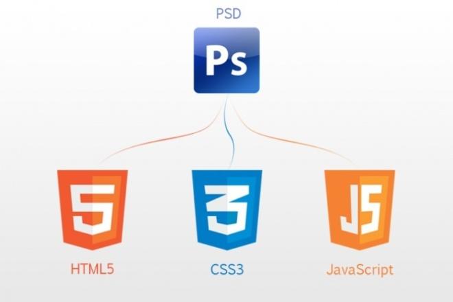 Верстка из PSD в html + CSS + JSВерстка и фронтэнд<br>Выполню верстку страницы из PSD макета в html + CSS + JS. Адаптивность, кроссбраузерность, валидность.<br>