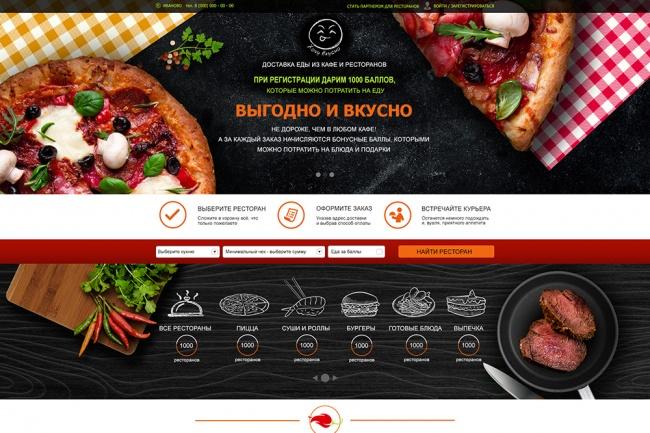 Дизайн страницы сайтов ресторанов, кафе, баров 1 - kwork.ru