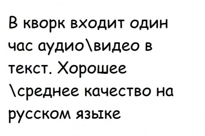 Транскрибация, перевод из аудио в текст,перевод из видео в текст 1 - kwork.ru