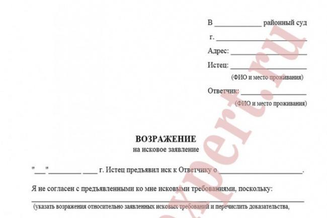 составлю возражение в суд 1 - kwork.ru