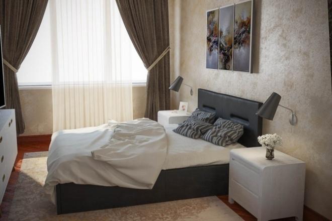 Создам 3D визуализацию интерьера спальни по вашим эскизам 1 - kwork.ru