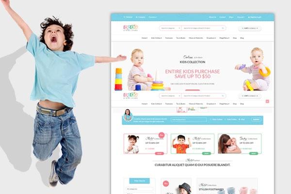 Детский интернет-магазин.  Baby Kids Store, премиум тема Wordpress 1 - kwork.ru