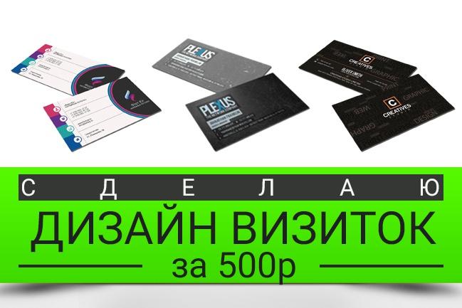 Нарисую 3 варианта визитокВизитки<br>Нет визиток? Специально для Вас разработаю 3 совершенно уникальных дизайна визитных карточек. Такие визитки не захочет выбросить ни один Ваш клиент! Стильные, современные, информативные. Делаем за 3-4 часа с момента предоставления Вами информации (название, логотип, контакты итд). Нас целый штат дизайнеров, работаем очень быстро и на профессиональном уровне (остерегайтесь школьников). Нам доверяют звёзды (смотрите видео-отзыв обо мне) Мы сделали уже более 1000 визиток (дизайн визиток)! Есть визитки, но хочется новые? Тогда мы с радостью переделаем Ваши визитки и целиком обновим фирменный стиль! Так же предоставим 3 варианта визиток на выбор. == Что будет, если ни один вариант визиток мне не понравится? Тогда мы нарисуем ещё 3 варианта. Пока Вы не скажете Да, это именно то P.S.: не откладывайте с визитками. Это лицо Вашего бизнеса. Прямо сейчас заказывайте кворк и мы через несколько часов сделаем для Вас нереально крутые визитки!<br>