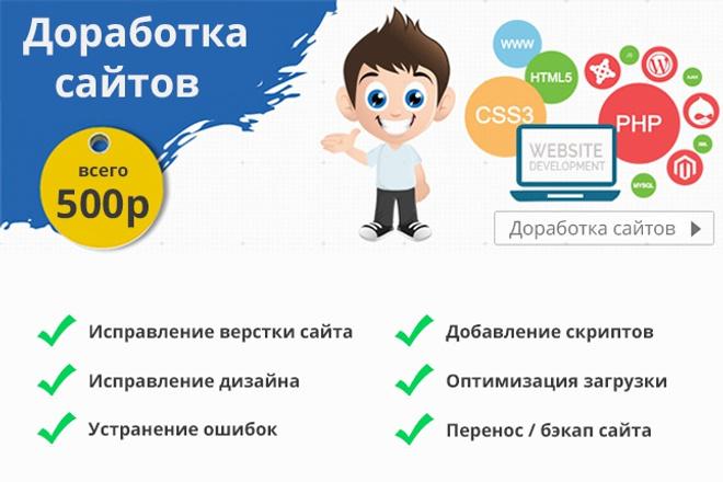 Доработка сайта (верстка / дизайн) 1 - kwork.ru
