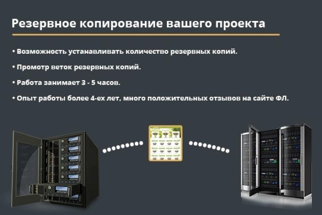 Настрою бэкапы для Ваших веб-проектовСкрипты<br>Закончилось место на диске? Не доверяете своему хостеру? Опасаетесь взломащиков? Тогда этот кворк для Вас. Выполняю полное резервное копирование файлов и баз данных, с возможностью просмотра веток бэкапов. Процедура выполняется в три шага: 1) Мы договариваемся о площадке для хранение файлов, обычно это VPS сервер. 2) Я настраиваю сервер для Cron задач и вставляю в него скрипт, для резервного копирования. 3) Ваш проект в полной безопасности.<br>