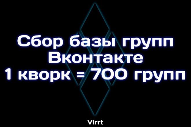 Соберу базу групп вконтакте. 1 кворк = 700 групп 1 - kwork.ru