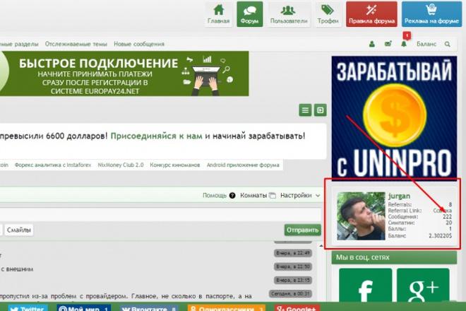 Размещу ссылку в подписи на форуме ФинФорум 1 - kwork.ru