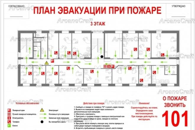 Создам планы эвакуации по гост 12. 2. 143Инжиниринг<br>Вы получите электронную версию плана в любом удобном для Вас формате (PDF, DWG, JPG, PNG), которую Вы потом сможете распечатать на любом принтере. Затем Вам останется только вставить в рамочку и повесить план на стену.<br>