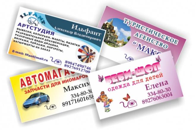 Выполню 3 варианта визиткиВизитки<br>Выполню 3 варианта дизайн-макета визитной карточки по желанию заказчика. Использую различные фоны, шрифты, рисунки, фото и логотипы.Могу в последствии изготовить визитки по утвержденному макету<br>