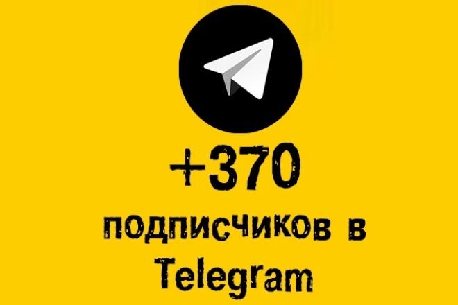 370 подписчиков TelegramПродвижение в социальных сетях<br>Добрый день! Вы можете купить пользователей на Ваш Телеграм-канал. Весь процесс делается живыми людьми, из своих аккаунтов. Отмечу, что отбираются именно живые люди, в связи с этим скорость от 3 до 50 подписчиков в сутки. Скорость: За 3-20 суток Вы получите 370 живых подписчиков Бонус: При покупке 2 кворков еще 20 подписчиков в подарок! Что нужно от Вас: Ссылка на Ваш канал в Телеграм Предупреждение: На Ваш аккаунт подписываются живые люди, следовательно через некоторое время они могут отписаться. Процент отписок не превышает 10% от общего количества.<br>