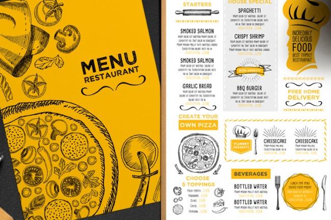 Создам менюГрафический дизайн<br>С нуля создам оригинальное меню (главная страница, 2 страницы с меню и страница с контактами и другой информацией) Также создам рекламные меню-скидка и спец.предложение для кафе и ресторанов. Разработаю листовки. Все обговаривается индивидуально. К работе отношусь ответственно. Выполняю в срок.<br>