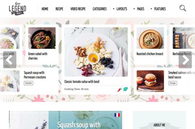 Шаблон для рецептов и кулинарных блоггеровГотовые шаблоны и картинки<br>Что вы получаете: Оригинальный интересный дизайн, который легко можно модифицировать 100% SEO оптимизация, включая сниппеты Пользователи могут добавлять и редактировать свои рецепты! Рецепты можно распределять по множеству параметров, в том числе и по странам Пошаговые рецепты с фотографиям Ингредиенты и поиск ингредиентов и поиск рецептов по ингредиентам Информация о количестве жиров и микроэлементов - для тех кто любит не только поесть, но и блюдет фигуру ;) Видео посты, фотопосты для тех кому нужно подробнее объяснять как вкусно готовить Посетители могут оценивать рецепты Поддержка Вк и Одноклассников Поддержка форумов на bbPress Поддержка WooCommerce Встроенные виджеты Подходит для мобильных устройств Тема переведена на русский язык! Демо: http://goo.gl/dajbMe Пример работающего сайта: http://goo.gl/cB4fA4 Шаблон распространяется по Regular лицензии, без права перепродажи. Никакие ключи не предоставляются. 100% чистый код без бекдоров и левых ссылок.<br>