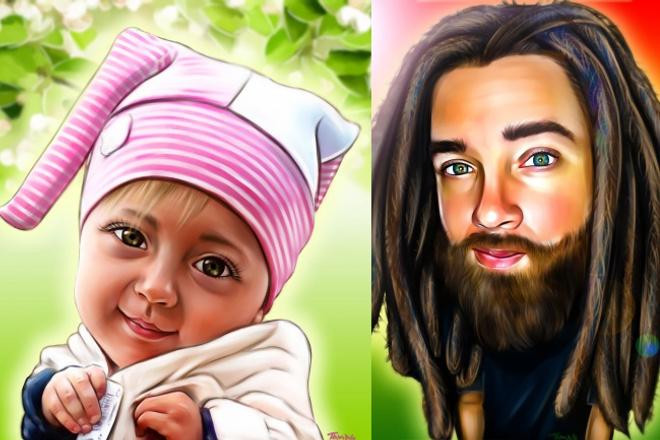 Нарисую обаятельный портретикИллюстрации и рисунки<br>Вы получаете в течение 3-х дней красочный шарж (веселый портрет). Также вы можете заказать парный портрет, в полный рост, красивый пейзаж на фоне.) Конечный рисунок вы получаете в формате JPG 4000 x 4000 pxl, который можно использовать как аву или распечатать на чехол, футболку, кружку или даже холст и на стену!!!) Сделайте незабываемый и приятный подарок своим близким!))<br>