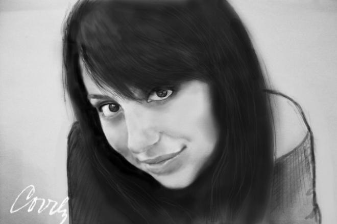 Ч/б digital-портретИллюстрации и рисунки<br>Хотите отменный портрет? Самому себе или в качестве подарка друзьям и родным? Вы не ошибётесь, обратившись ко мне ;) Алгоритм моей работы всегда один и тот же: сначала я полностью рисую портрет карандашом, а уже после дорабатываю мышью в Photoshop. Никаких фильтров, никакого обмана . Вы получаете оцифрованный портрет, нарисованный от руки !<br>