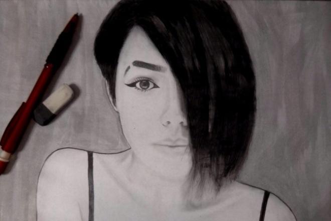 Нарисую Ваш портрет в графике формата А4 по фотографии 1 - kwork.ru