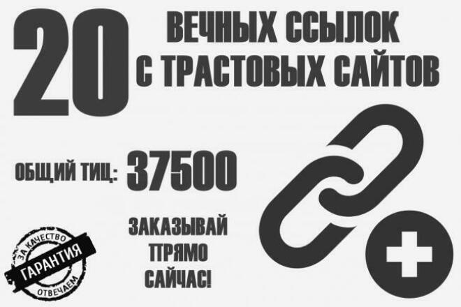 20 вечных ссылок с трастовых сайтов. Общий тиц 37500 1 - kwork.ru