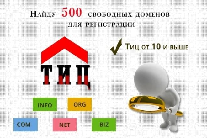 Подберу 500 свободных доменов для регистрации с ТИЦ от 10 и вышеДомены и хостинги<br>Подберу 500 свободных доменов для регистрации с ТИЦ от 10 и выше (не склеенных) в международных зонах com, net, org, biz, info. Главное преимущество доменов в международной зоне по отношению к доменам ru - это простота их регистрации! Вы получите текстовый файл в формате txt с адресами свободных доменов с ТИЦ 10 и выше. ---бонус--- - Вы получите адрес надежного американского регистратора доменов (у него есть поддержка русского языка). - Контакты проверенных продавцов виртуальных пластиковых карт (для оплаты заказов у регистратора доменов).<br>