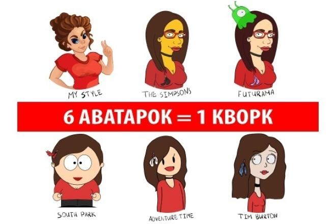 Нарисую серию аватарок в мульт стилях 1 - kwork.ru