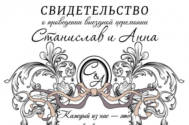 Сделаю макет свидетельства о выездной регистрации 1 - kwork.ru