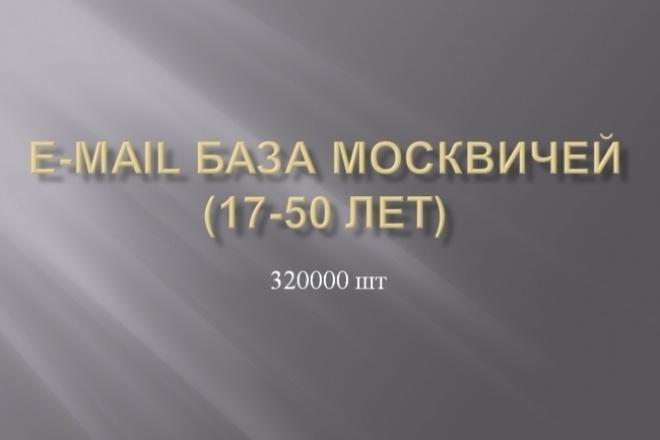 База e-mail адресов москвичей 17-50 лет 320000 штИнформационные базы<br>Предлагаю базу email адресов москвичей от 17 до 50 лет. Общее количество контактов 320000 шт Email адреса актуальны. В наличии также есть: База №1 покупателей одежды и обуви (1млн), в базе емейлы и моб номера; База №2 покупателей одежды и обуви (1млн 42к) в основном моб. номера, емейлы; База скайп МЛМщиков (60000); И другие. Смотрите дополнительные опции. Важно! Для создания баз использовались различные открытые источники в интернете, где каждое физ лицо подтвердило своё согласие на сбор и обработку данных. Сбор контактов был осуществлен продавцом Кворка по средством программы для парсинга контактов из открытых источников.<br>
