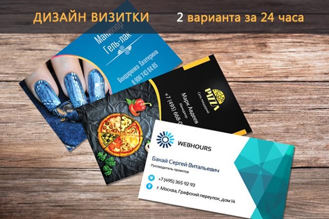 Дизайн визитки 2 варианта за 24 часа 1 - kwork.ru