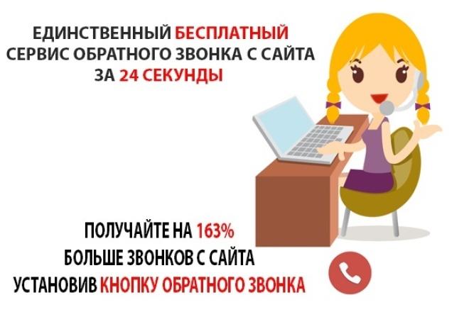 Установлю бесплатный сервис обратного звонка с сайта за 24 секТрафик<br>Подключу модули: 1. Сервис обратного звонка с перезвоном за 24 сек. 2. Генератор клиентов Модуль для проведения акций или сбора Email адресов. Представляет из себя всплывающее окно с возможностью захвата: Имени, Телефона и Email адреса. Интегрируется с GetResponse и MailerLite. 3. Захватчик Модуль имитирует написание сообщения от живого человека и перекидывает внимание пользователя на нужную Вам страницу или целевое действие. 4. Онлайн ЧАТ Модуль позволяет посетителю общаться с Вашими менеджерами в режиме онлайн прямо с Вашего сайта. 5. Стадный инстинкт Модуль, который имитирует очередь из клиентов на сайте. Все эти модули увеличат вам конверсию сайта на 123%. Ни одного клиента вы не потеряете. Внимание, перед заказом кворка прошу со мною связаться! Все эти модули я могу установить вам на сайт. Есть модуль бесплатный, а также есть модули с пробным периодом 7 дней. Вы пользуетесь, если вас устраивает, выбираете тарифный план. Кто покупает у меня кворк, я даю промо-код на сумму 100 руб на счет, для подключения одного из модулей!<br>
