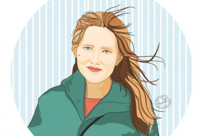 ПортретОтрисовка в векторе<br>Нарисую портрет по фотографии в векторной программе. Красиво, ярко и оригинально. Векторный формат позволит Вам напечатать изображение в любом размере.<br>
