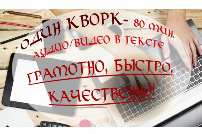 Переведу из аудио или видео источника в текст. 80 минут 1 - kwork.ru