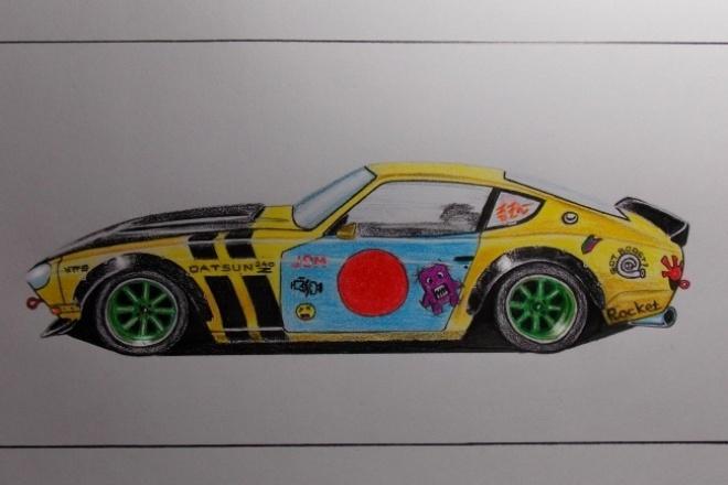 Рисую автомобилиИллюстрации и рисунки<br>Рисую автомобили с раннего детства, использую карандаши или графический планшет.<br>