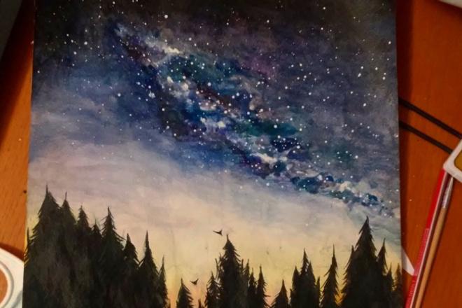 Нарисую звездное небо, или другой рисунокИллюстрации и рисунки<br>Нарисую звездное небо на листе любого формата. А также рисунки другого содержания (только не портреты). Могу оформить в виде открытки или просто рисунка (любое ваше пожелание по поводу оформления). Работу высылаю почтой России по указанному Вами адресу. В кворке указана цена за формат А3. Цены на другие форматы и стоимость услуг почты вы найдете в опциях.<br>