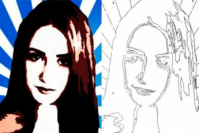 Портрет раскраска по номерамИллюстрации и рисунки<br>Собственный Поп-арт портрет раскраска по номерам эскиз который вы можете распечатывать сколько хотите<br>