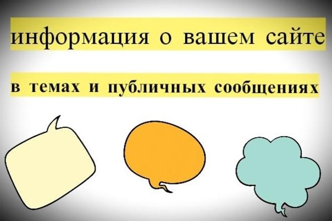 Информация о вашем сайте в темах, публичных сообщениях, блогах 1 - kwork.ru