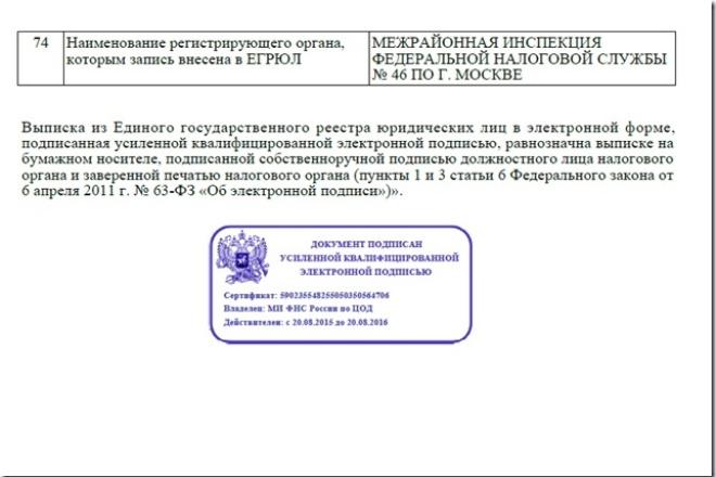 Выписка егрюл 1 - kwork.ru