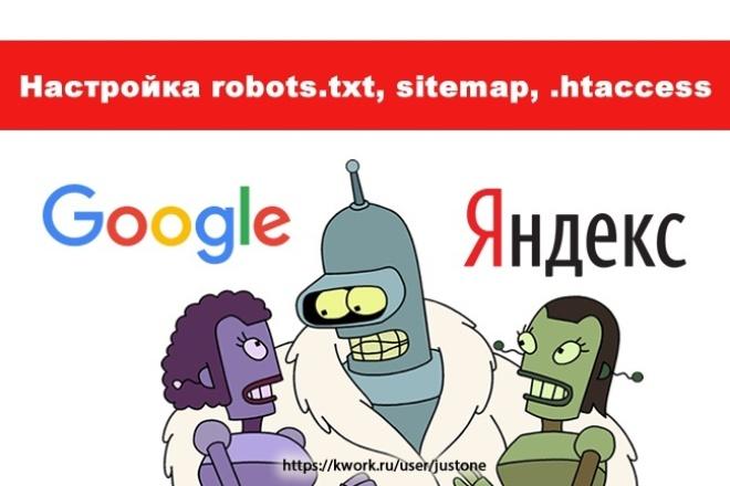 Настройка robots, sitemap, .htaccess 1 - kwork.ru
