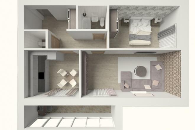 Сделаю 3d план квартиры, домаМебель и дизайн интерьера<br>В 1 кворк входит визуализация 3d плана квартиры или этажа дома с наложенными текстурами/цветами стен, пола. Без мебели и оборудования. Расстановка мебели приобретается дополнительно. Услуга полезна при продаже квартиры собственником или застройщиком.<br>