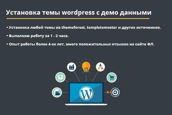 установлю шаблон wordpress 1 - kwork.ru