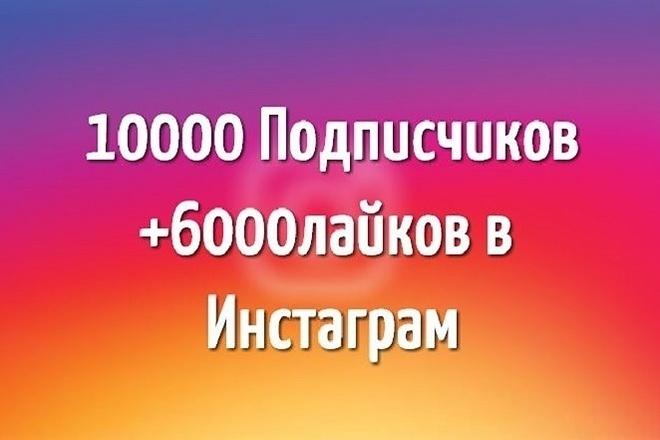 10000 подписчиков в instagram и 6000 лайков 1 - kwork.ru