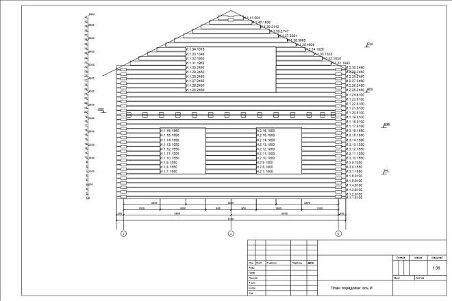 Развертки стен, документация на производство, дома из бруса, бревна 1 - kwork.ru